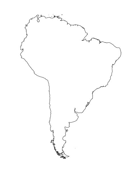 South And America Map Outline by Blank Map Of South America Template
