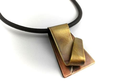 metal brass pendants brass copper pendant necklace leather cord mixed metal