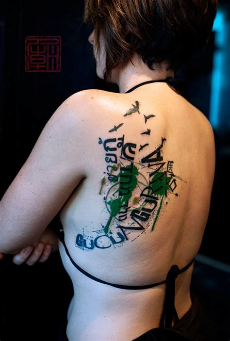 tattoo fonts modern modern style colored lettering on shoulder combine
