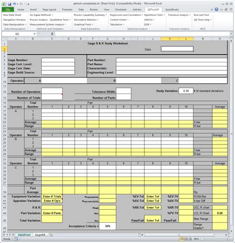 attribute gage r r excel template gage r r worksheet the best and most comprehensive