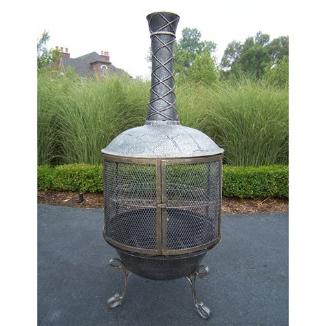 Living Accents Cast Iron Chiminea Tower Feast Cast Iron Chiminea Pit In Antique Bronze