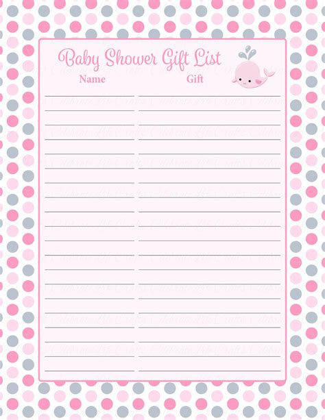 Baby Shower List Of Gifts Template by Baby Shower Gift List Set Printable Pink Gray