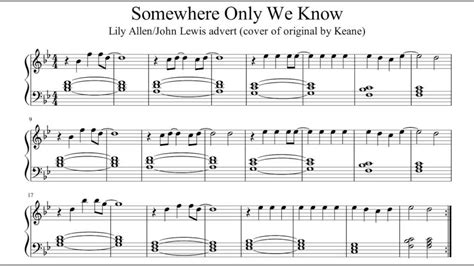 tutorial piano keane somewhere only we know keane piano sheet music my