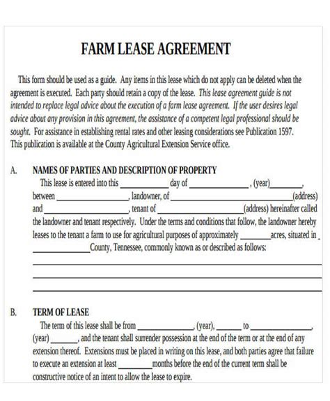 farm rental agreement template 19 printable lease agreement templates word pdf pages