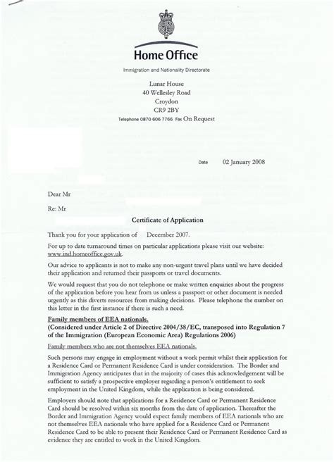 Acknowledgement Letter Eea2 Eeafamilypermit Apply As Up Or Get Married And Apply As