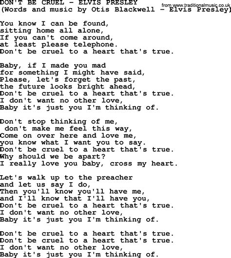 Song T | don t be cruel by elvis presley lyrics