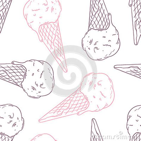 doodle ice cream pattern doodle ice cream in a waffle cone outline stock vector