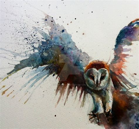 barn owl in flight watercolour by sarahstokes on deviantart