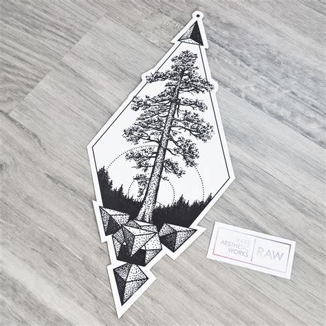 geometric dotwork tattoo designs cedar tree nature dotwork geometric design 2017