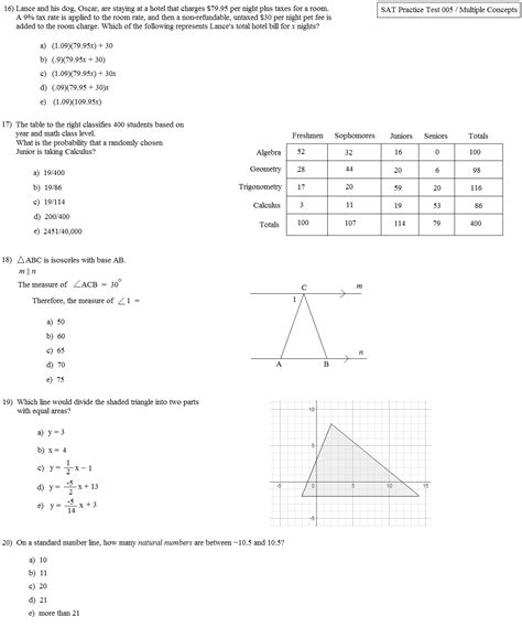 sections of the sat test math plane sat practice test 005 multiple concepts