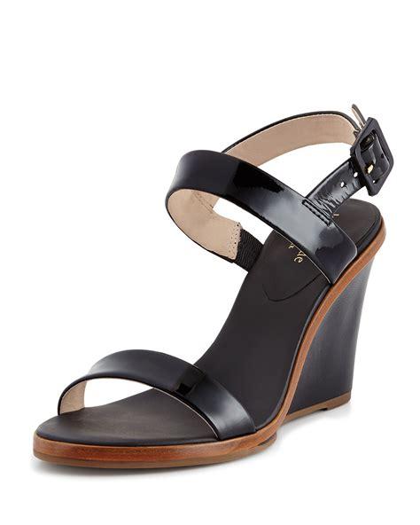 Sandal Wedges Kate Spade kate spade patent wedge sandal in black lyst