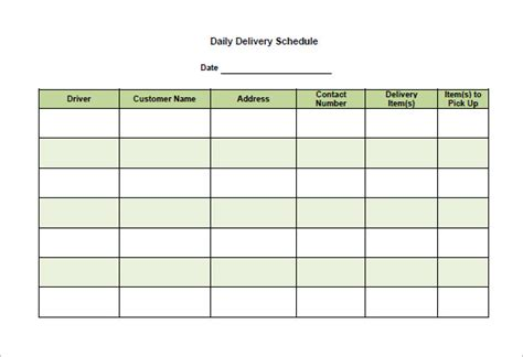 15 Delivery Schedule Templates Pdf Doc Xls Free Premium Templates Transportation Schedule Template