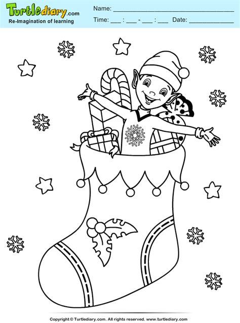 elf stocking coloring pages stocking elf coloring sheet turtle diary