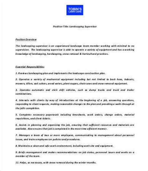 10 sle landscaping job description templates pdf