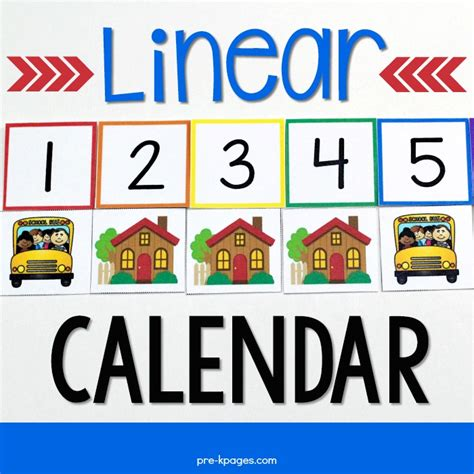 linear calendar template linear calendar kit pre k pages