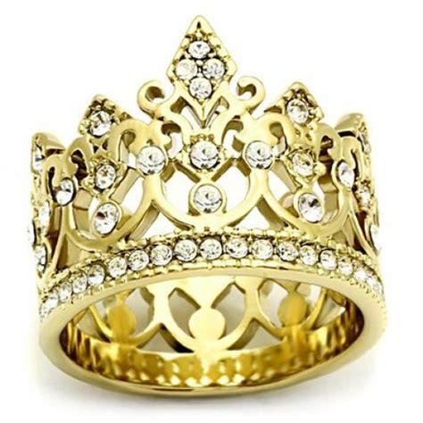 pave set gold crown ring