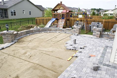 backyard patio pavers patio with pavers designs complete your omaha backyard