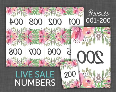 printable numbers for live sales live sale numbers facebook live number cards reverse