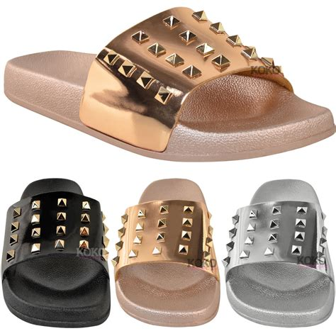 designer slippers womens womens flat slip on studded slides designer