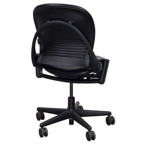 armless black leather office chair steelcase leap armless used leather task chair black