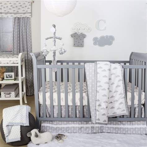 white nursery bedding sets grey and white cloud print 3 baby crib bedding set by the peanut shell 615339564583 ebay