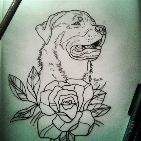 traditional outline rottweiler and big flower tattoo