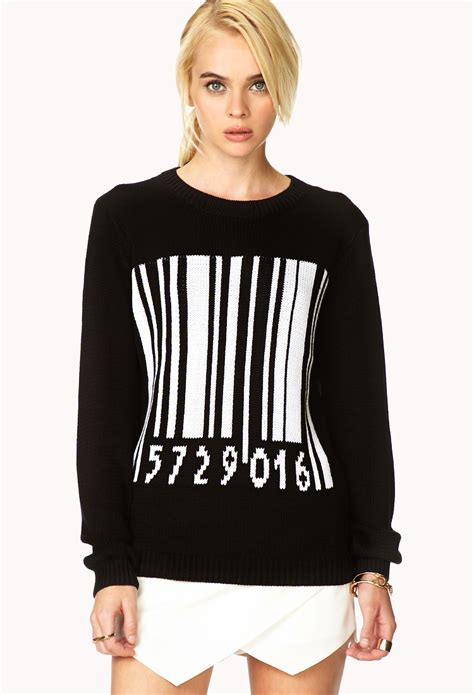 forever 21 barcode pattern sweater in white black white lyst