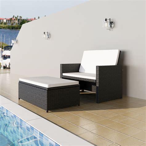 Sofa Bed 3 In 1 Vidaxl 3 In 1 Sofabed Set Folding Rattan Sofa Bed Furniture Set Black Vidaxl