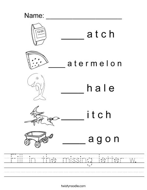 Letter W Worksheets by Fill In The Missing Letter W Worksheet Twisty Noodle