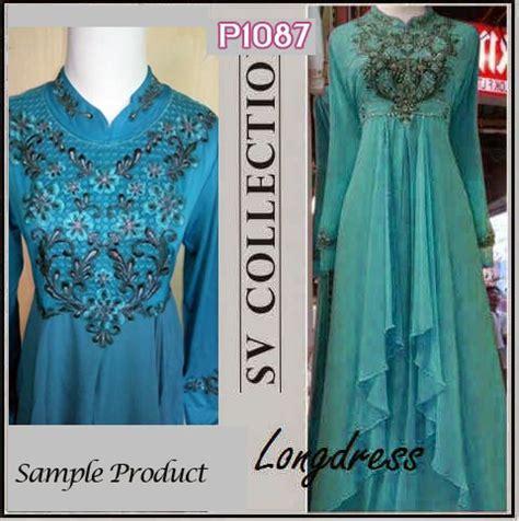 Dress Shanghai Gaun Pesta Biru Benhur Baju Dres Wanita Dewasa Blue baju pesta brokat biru tosca sifon biru payet gaun pesta gaun pesta p1087 bordir