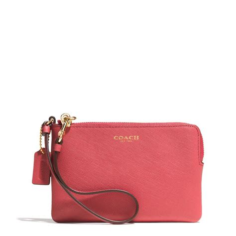 Coach Small Wristlet In Saffiano Leather In Pink Lyst