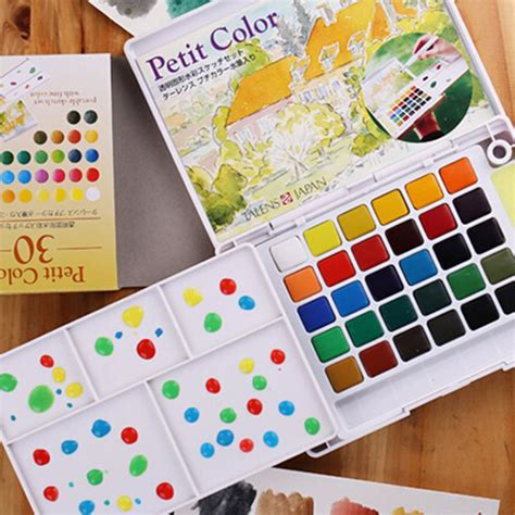 Lukisan Koi Big Myy 12 30colors watercolor paints box with paintbrush