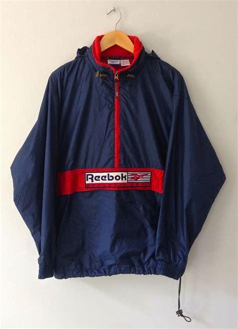 image of vintage reebok half zip hooded embroidered windbreaker jacket medium classics