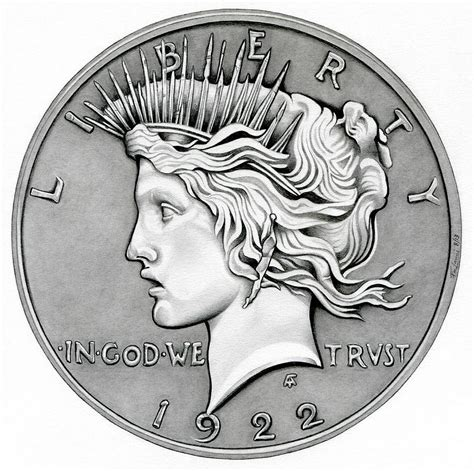 Coin Drawing graphite peace dollar drawing by fred larucci
