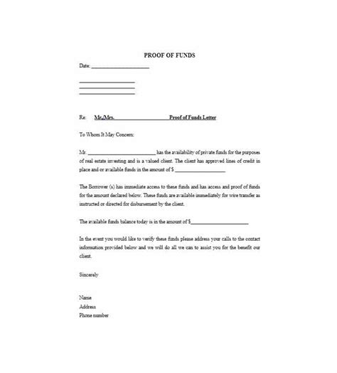 sle proof of funds letter template 25 best proof of funds letter templates template lab