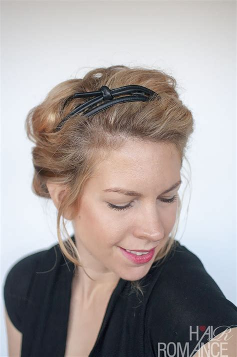 headband hairstyles easy curly hairstyle tutorial rolled headband updo hair romance