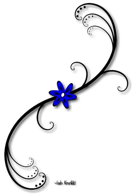 blue flower with vine tattoo by vashkranfeld on deviantart