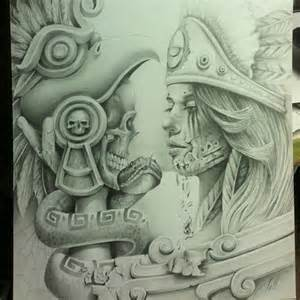 arte aztec drawings chicanoart net tattoos artworks chicano girls