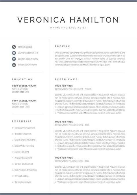 professional resume template page resume