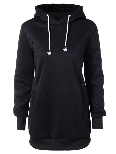 Dress Hodie black hooded sleeve drawstring hoodie dress rosegal
