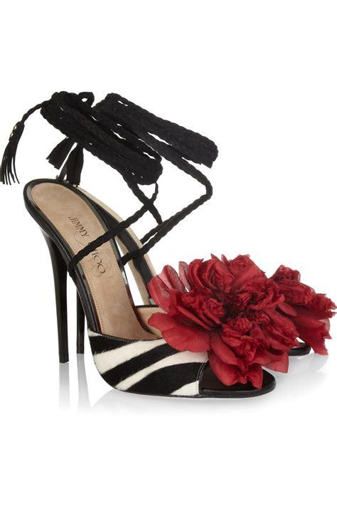 zebra print sandals jimmy choo zebra print calf hair sandals lyst