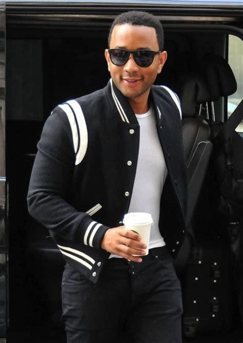 john legend hairstyle saint laurent contrast varsity style jacket photo