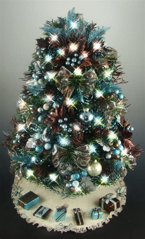 tabletop christmas tree brown aqua turquoise 21