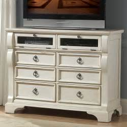 heirloom wood media dresser tv stand in antique white