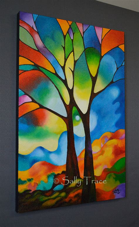 Moderne Glasmalerei Vorlagen Two Trees Original Abstract Tree Painting By Sally Trace
