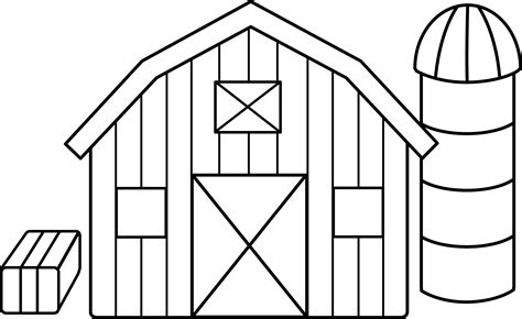 Cute Colorable Farm Scene Free Clip Art Barn Coloring Pages Free
