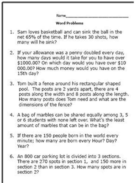 7th Grade Math Word Problems Worksheets by 17 Best Ideas About Math Problems On 3rd Grade