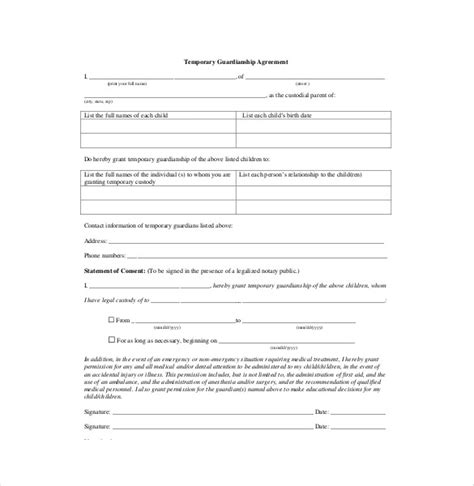 Custody Agreement Letter Template Temporary Custody Form Minor Child Poa Free Guardianship A Minor Child Power Of Attorney