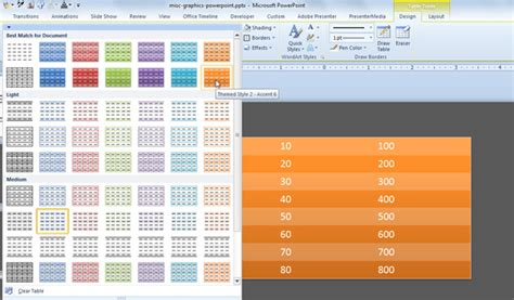 Table Styles Table Style Light 2 Excel 2013 Table Styles In Excel