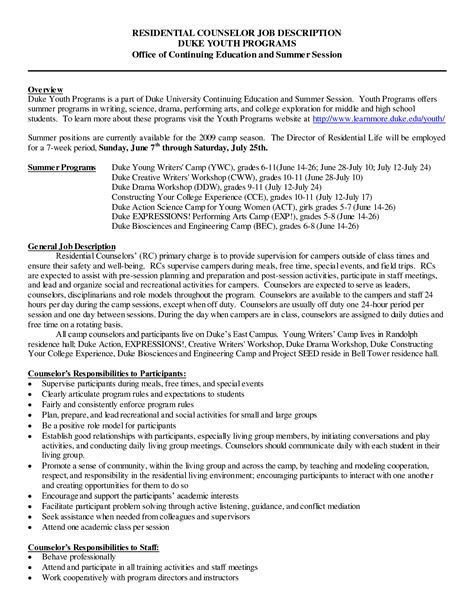 Travel Counselor Cover Letter by Residential Counselor Description Resume Resume Ideas